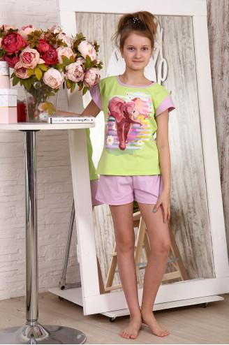 Детский костюм с шортами  83541  Салатовый